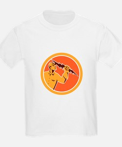 Electrician Holding Lightning Bolt Circle Retro T-