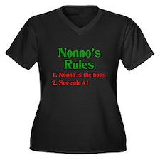 Nonno's Rules Women's Plus Size V-Neck Dark T-Shir