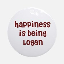 happiness is being Logan Ornament (Round)