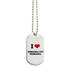 I love Nebraska City Nebraska Dog Tags