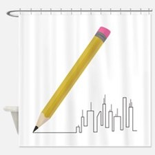 Cityscape Sketch Shower Curtain