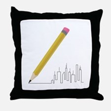 Cityscape Sketch Throw Pillow