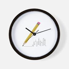 Cityscape Sketch Wall Clock
