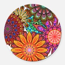Funky Flowers Round Car Magnet