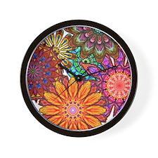 Funky Flowers Wall Clock