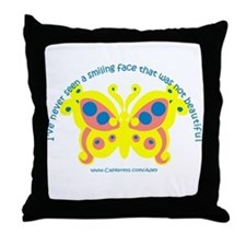 Smiling Face Butterfly Throw Pillow