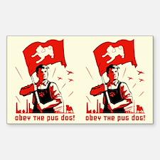 Pug Patriotism Rectangle Decal