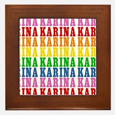 Rainbow Name Pattern Framed Tile