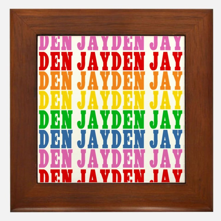 Rainbow Name Pattern Framed Tile