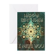 Birthday card to say I miss you with a grunge frac