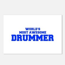 WORLD'S MOST AWESOME Drummer-Fre blue 600 Postcard