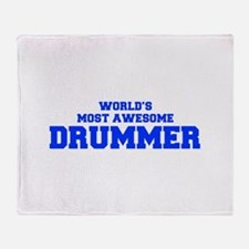 WORLD'S MOST AWESOME Drummer-Fre blue 600 Throw Bl