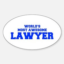 WORLD'S MOST AWESOME Lawyer-Fre blue 600 Decal