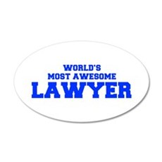 WORLD'S MOST AWESOME Lawyer-Fre blue 600 Wall Deca