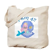 Lil Mermaid 4th Birthday Tote Bag