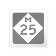 "M-25, Michigan Square Sticker 3"" x 3"""