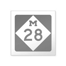 "M-28, Michigan Square Sticker 3"" x 3"""