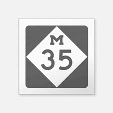 "M-35, Michigan Square Sticker 3"" x 3"""