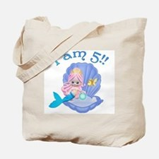 Lil Mermaid 5th Birthday Tote Bag