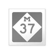 "M-37, Michigan Square Sticker 3"" x 3"""