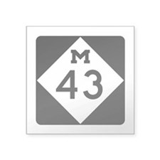 "M-43, Michigan Square Sticker 3"" x 3"""