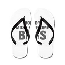 WORLDS MOST AWESOME Boss-Akz gray 500 Flip Flops