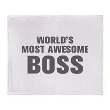 WORLDS MOST AWESOME Boss-Akz gray 500 Throw Blanke