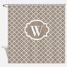 Beige Quatrefoil Monogram Shower Curtain