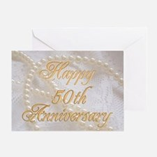 50th Anniversary card with pearls and lace Greetin