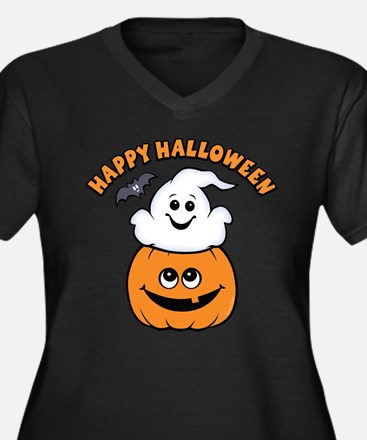 Ghost In Pumpkin Women's Plus Size V-Neck Dark T-S