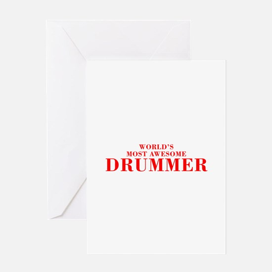 WORLDS MOST AWESOME Drummer-Bod red 300 Greeting C