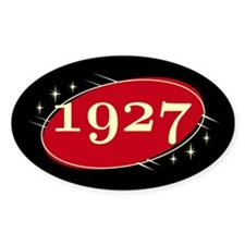 Year 1927 Black/Red Neo Retro Oval Decal