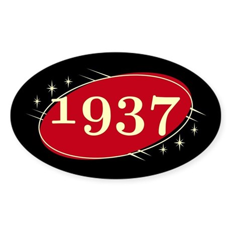 Year 1937 Black/Red Neo Retro Oval Decal
