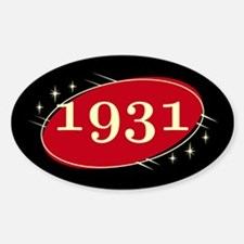 Year 1931 Black/Red Neo Retro Oval Decal