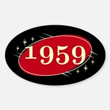 Year 1959 Black/Red Neo Retro Oval Decal