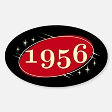 Year 1956 Black/Red Neo Retro Oval Decal