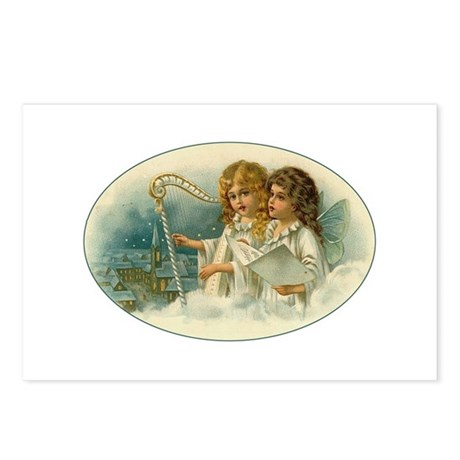 Caroling Victorian Christmas Angels with Harp Post