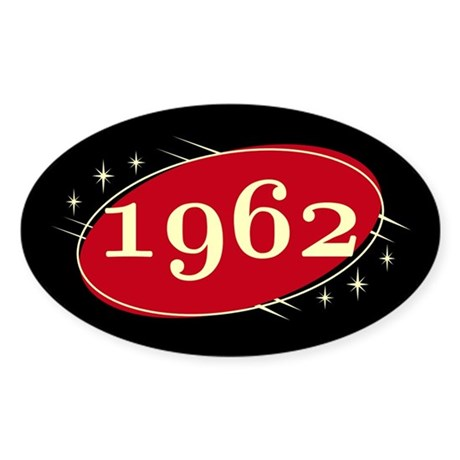 Year 1962 Black/Red Neo Retro Oval Decal