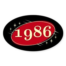 Year 1986 Black/Red Neo Retro Oval Decal