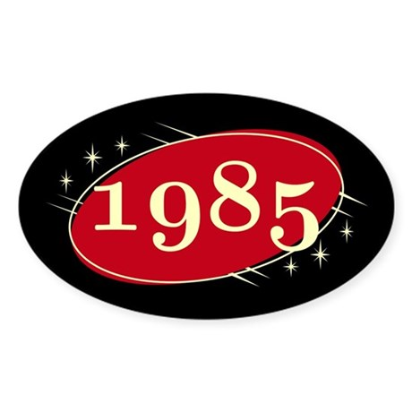 year 1985 black red neo retro oval decal by uniquetrappings. Black Bedroom Furniture Sets. Home Design Ideas