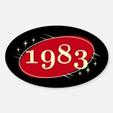 Year 1983 Black/Red Neo Retro Oval Decal
