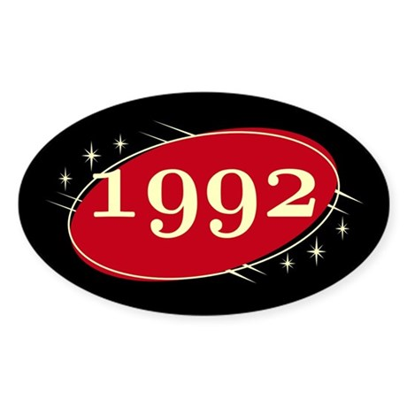 Year 1992 Black/Red Neo Retro Oval Decal