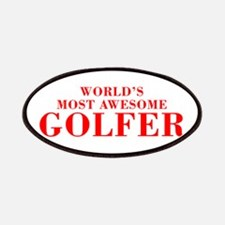 WORLDS MOST AWESOME Golfer-Bod red 300 Patch