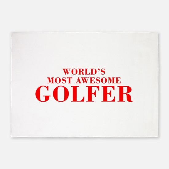 WORLDS MOST AWESOME Golfer-Bod red 300 5'x7'Area R