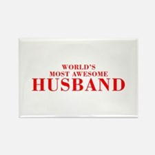 WORLDS MOST AWESOME Husband-Bod red 300 Magnets