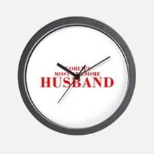 WORLDS MOST AWESOME Husband-Bod red 300 Wall Clock