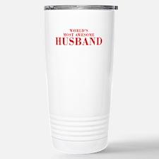 WORLDS MOST AWESOME Husband-Bod red 300 Travel Mug