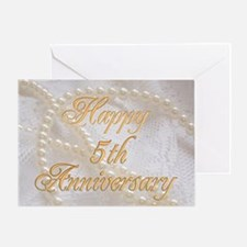 5th Anniversary card with pearls and lace Greeting