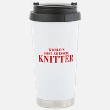 WORLDS MOST AWESOME Knitter-Bod red 300 Travel Mug