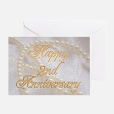 2nd Anniversary card with pearls and lace Greeting